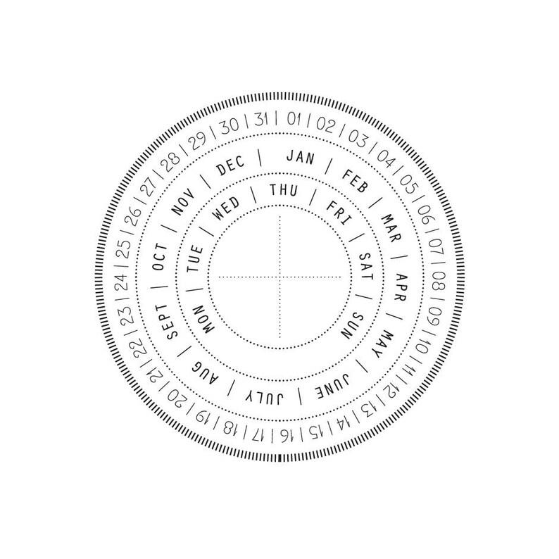 Rubber Stamp Perpetual Calendar Circle