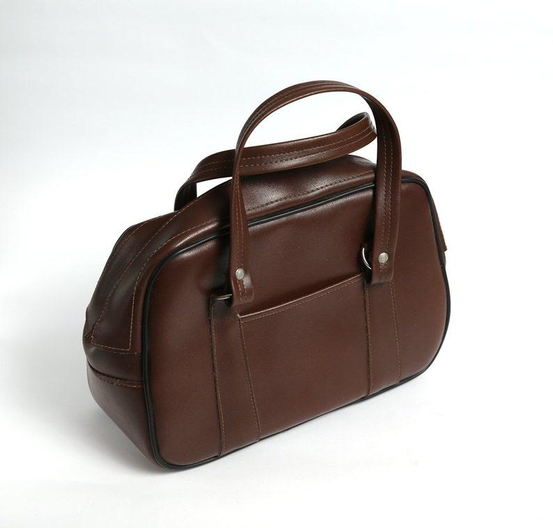 6295a7d027ede Vintage braun Lederhandtasche 70er Jahre Leder-Handtasche