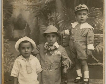 Valencia, Spain Adorable Original 1920s Spanish Rppc 3 Rich Siblings with 2 Colors Shoes by A FREE SHIPPING WORLDWIDE Vicente Crespo