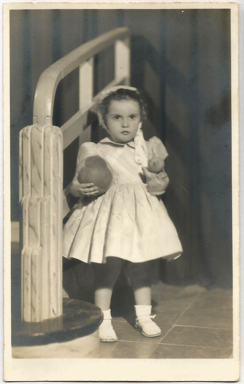 Spain Original Dated 1955 Signed Spanish Photo  Gorgeous Girl with a Toy Cat /& Ball  by Casber FREE SHIPPING WORLDWIDE Benicarlo