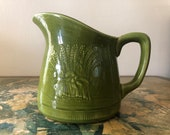 Vintage Green Franciscan Wheat Pitcher