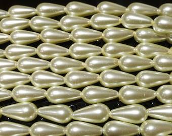 100 Bastelperlen Tropfen Perlen gold metallic 15mm Acryl zB für Perlensterne