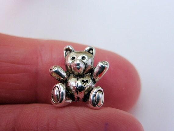 4 X 3D Adorable Peluche Oso encantos perlas de plata antigua si 14mm X 10mm CPX7116A