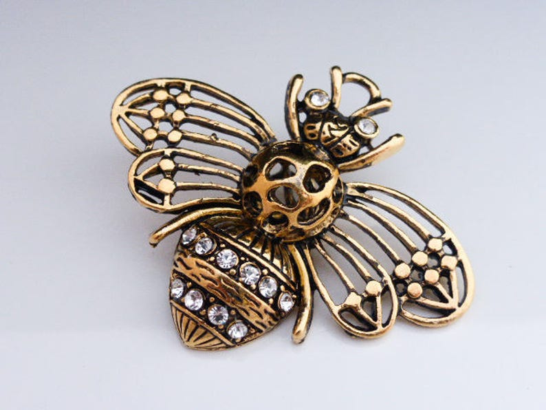 1 x Large 3D Rhinestone Bee Antique Silver Insect Pendant Charm 57mm x 48mm C6A