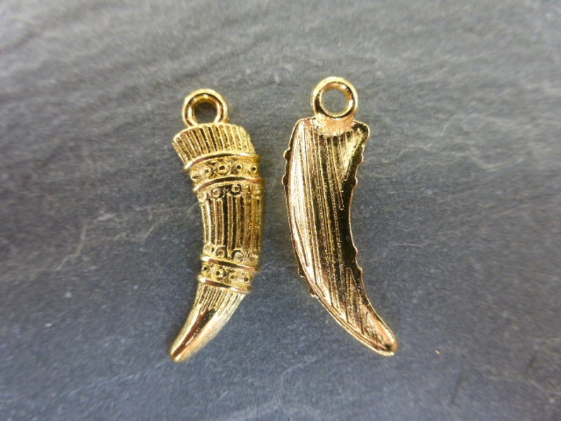 CPX7114 Craft Supplies UK Seller 20 x Gold Tusk Charms Pendants Beads Spacers Findings 23mm x 7mm Charms