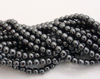 4mm Hematite Round Beads Black Non-Magnetic - 1 Strand (approx 100 beads), Craft Supplies, UK Seller (GB1133)