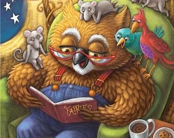 Fine Art Print for Children / Mr. Owl's Bedtime Story