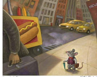 Fine Art Print for Children/ Mouse in the City