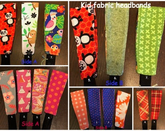 Kid fabric headbands 100% cotton in a variety of beautiful prints