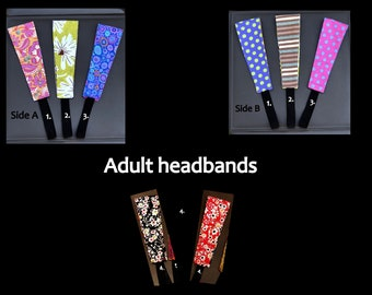 Adult reversible fabric headbands 100% cotton in a variety of beautiful prints