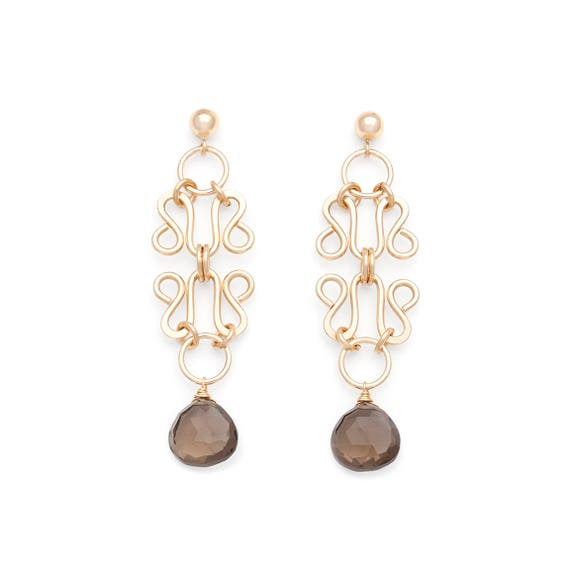 Smoky Quartz /& Filigree Wholesale Gemstone Fashion Jewelry Drop Earrings