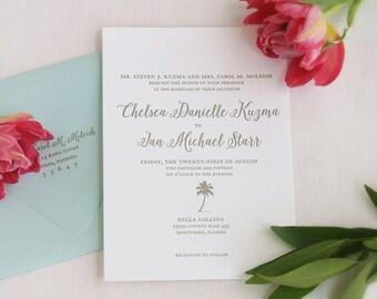 Coastal Letterpress Wedding Invitation