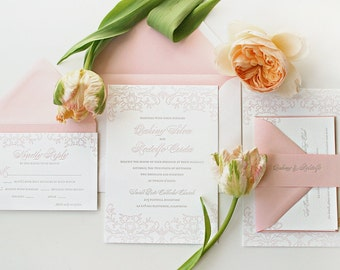 Pink Damask Letterpress Wedding Invitations