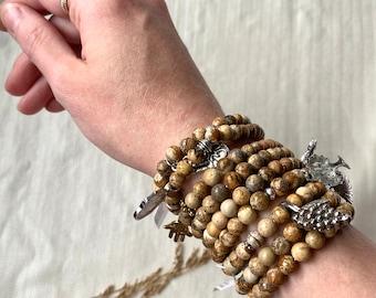 Gemstone Bracelet with Picture Jasper Beads, Beaded Bracelet, Jasper Stone Bracelet,