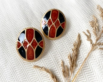 Vintage Gold 80s Earrings, Big Gold Earrings, Retro Jewelry, Vintage Jewellery