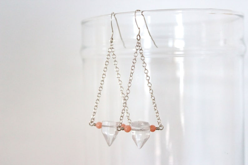 Quartz Crystal Earrings Boho Gemstone Point with Peach Coral image 0