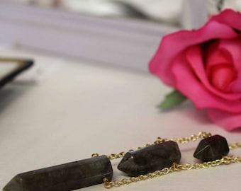 Labradorite Necklace, Bohemian Gemstone Pendant, Crystal Point Necklace