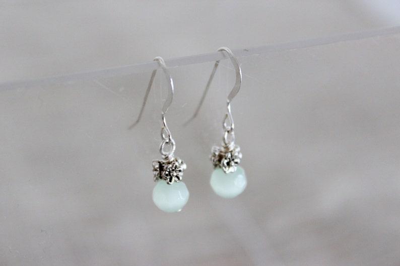 Elegant Bridesmaid Earrings Tiny Dangle Earring Delicate image 0