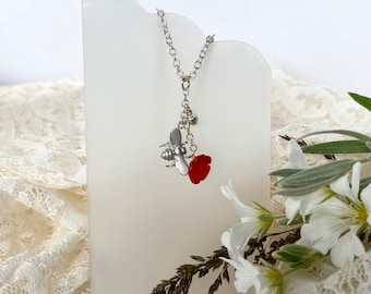 Dainty Silver Bee Necklace, Honey Bee Charm Pendant, Coral Gemstone Necklace, Bumble Bee