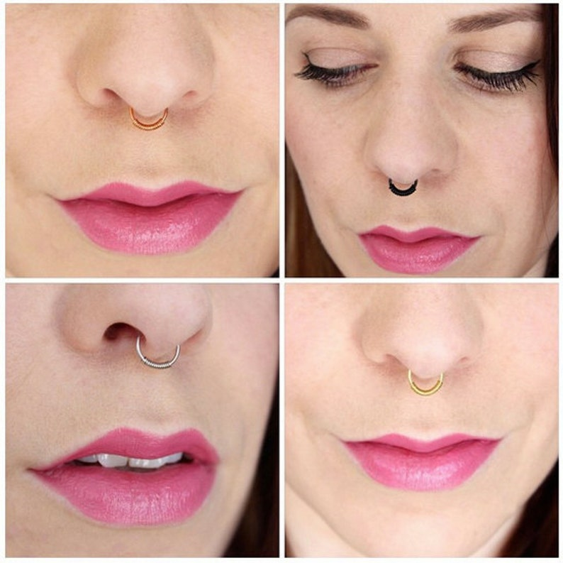 Fake Nose Ring Set of Four  Faux Piercing No Pierce Septum image 0