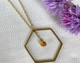 Gold Honeycomb Amber Necklace, Amber Jewelry, Genuine Amber Gemstone, Honey Bee