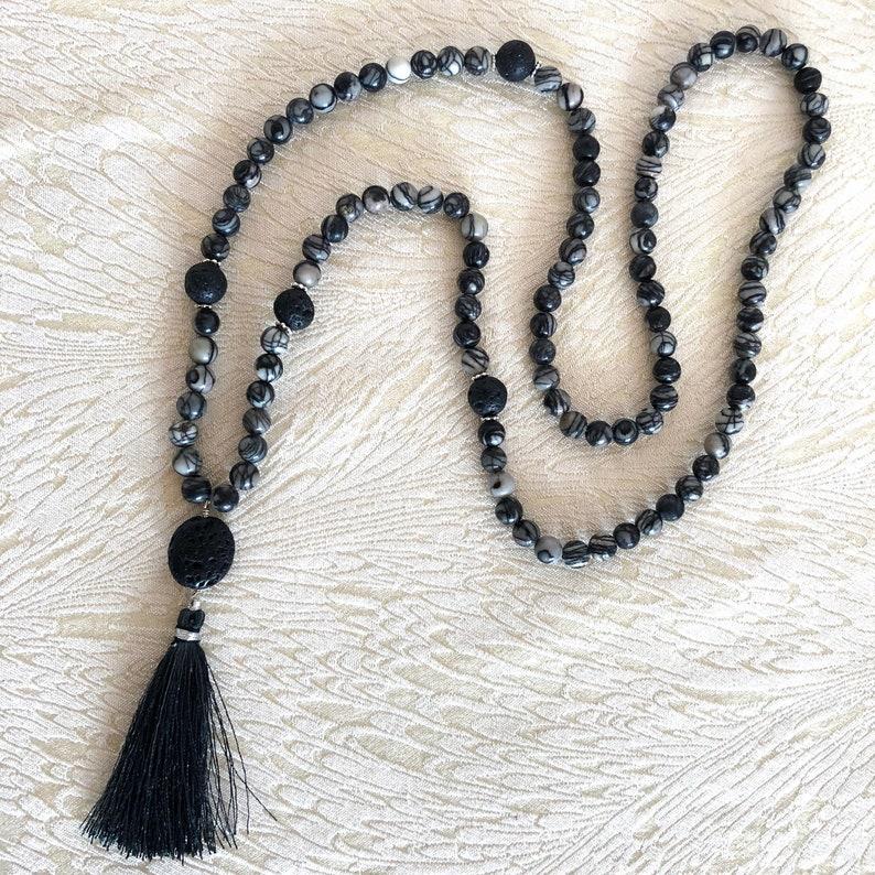 Silk Stone beaded necklace mala necklace meditation bead buddhist prayer tassel necklace Grey Prayer Beads