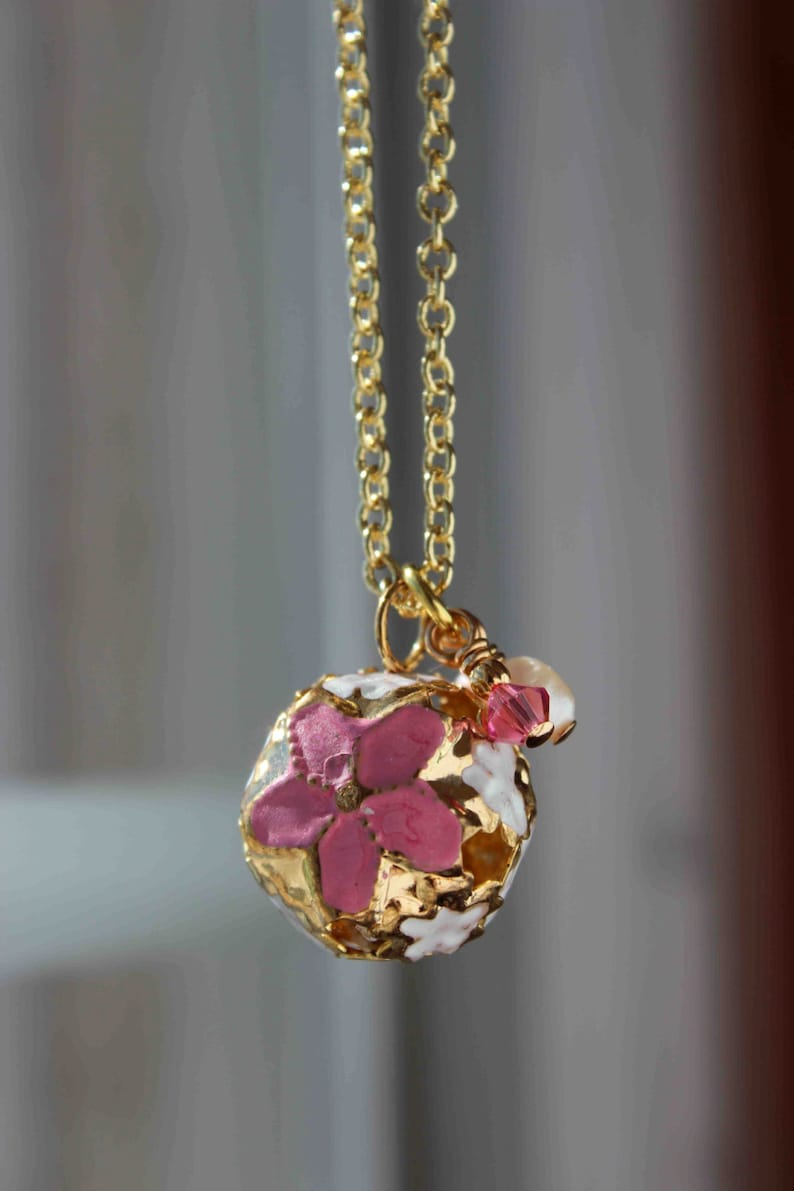 Gold Plated Bell with Pink Enamel & Filigre Boho Fairy image 0