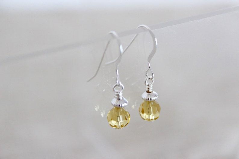 Minimalist Bridesmaid Earrings Tiny Dangle Earring Delicate image 0