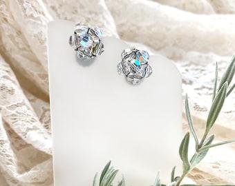 Vintage Sparkling Clip-on Earrings, Retro Earring, Faux Piercing