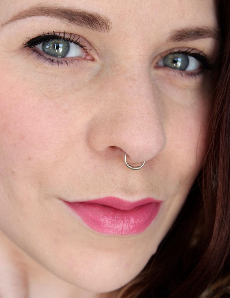 Fake Nose Ring Set of Two  Faux Piercing No Pierce Septum image 0