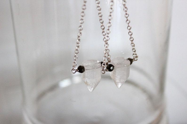 Quartz Crystal Earrings Boho Gemstone Point with Pyrite image 0