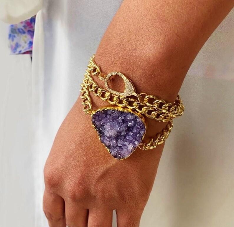 Statement Bracelet Purple Druzy Bracelet Purple Geode Bracelet Purple and Gold Bracelet Purple Bracelet Druzy Wrap Bracelet