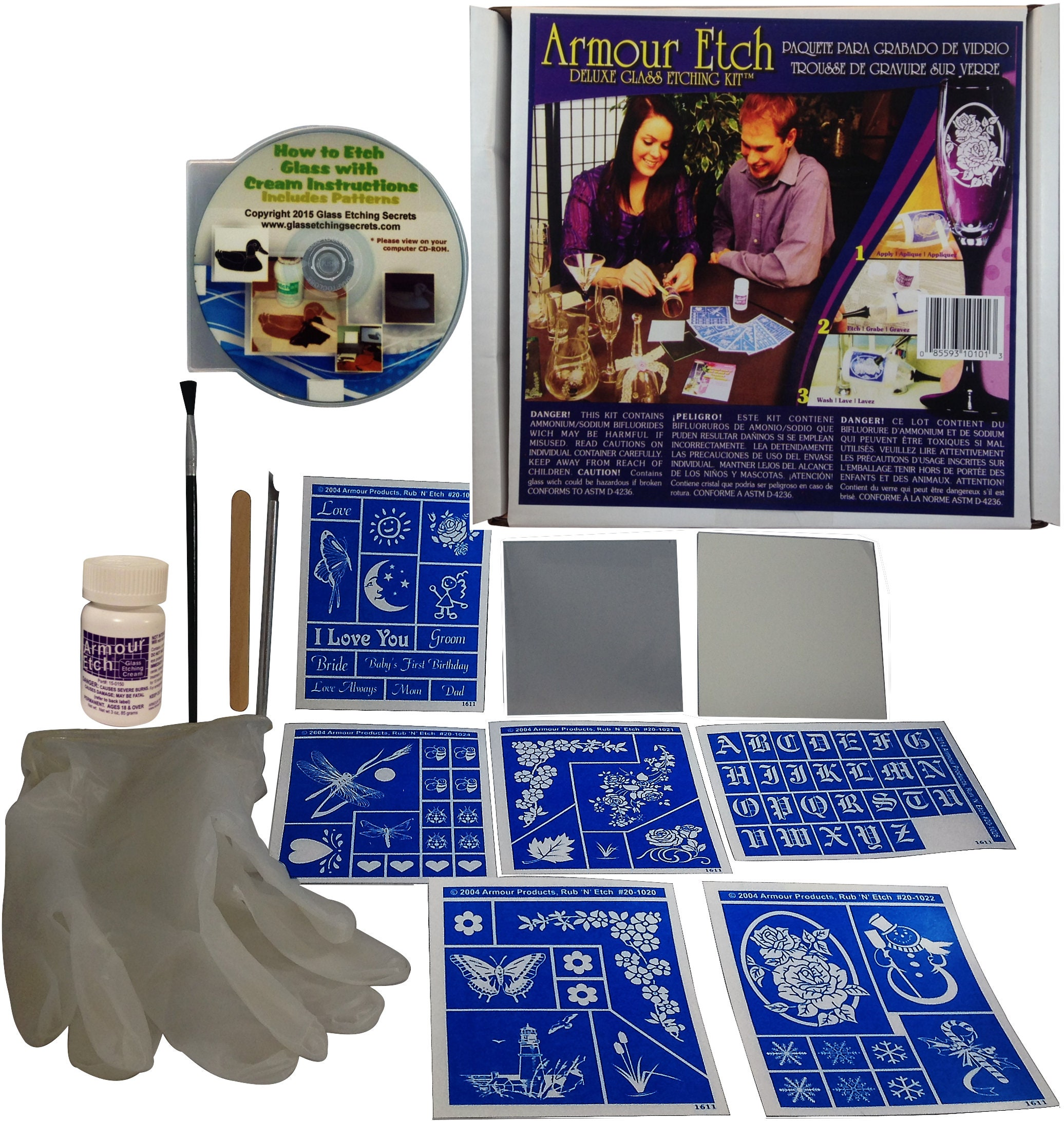 Glass Etching Kit Deluxe: Acid Etching Cream, Stencils, Gloves, Cutting  Knife, Brush + Free How to Etch Glass & Patterns CD