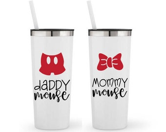Mommy Mouse, Daddy Mouse, Set of 2- Personalized 22 0z. Roadie Tumbler with Straw and Lid, Insulated Stainless Steel