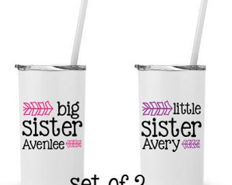 Big Sister, Little Sister, Set of 2 - Personalized 12 0z. Roadie Tumbler with Straw and Lid, Insulated Stainless Steel