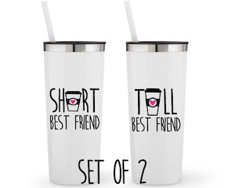 Short and Tall Best Friend, Set of 2 - Personalized 22 0z. Roadie Tumbler with Straw and Lid, Insulated Stainless Steel