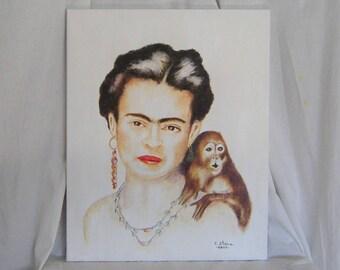 Frida Kahlo Original Acrylic Painting - Frida Kahlo and Monkey Acrylic 16 x 20 Inches - Free Shipping in U.S.A. continent.