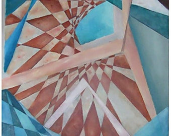 Knot String Theory, But … (Original Oil Painting on canvas by Amy Ione). Signed. Shades of blue, rust, and white. Unframed. (28098)