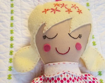 Handmade fabric girl doll with blonde hair, rag doll, soft doll, fabric doll, modern fabric doll, girl room, handmade cloth doll
