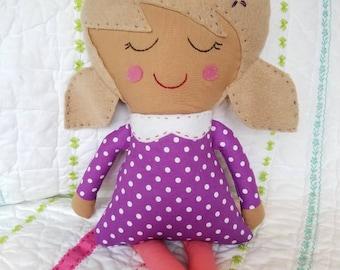 Handmade fabric girl doll w/ light brown hair, rag doll, soft doll, fabric doll, modern fabric doll, girl room, handmade cloth doll, purple