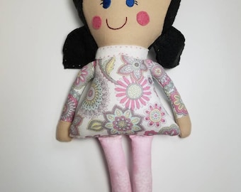 Handmade fabric girl doll with black hair and pink flower dress, rag doll, soft doll, fabric doll, modern cloth doll, girl room