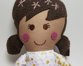 Handmade fabric girl doll with dark brown hair, rag doll, soft doll, fabric doll, modern fabric doll, purple and gold dress