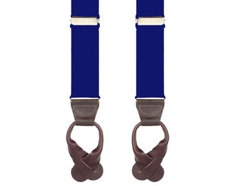 """KIDS NAVY BRACES - Button On Suspenders - 2 Sizes for Better Fit - Ages 4 to 12 - 1 1/4"""" Width Elastic"""