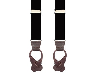 """KIDS BLACK BRACES - Button On Suspenders - 2 Sizes for Better Fit - Ages 4 to 12 - 1 1/4"""" Width Elastic"""