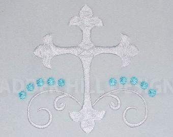 Cross Machine Embroidery Design -- Baptism Satin Cross Embroidery -- Easter Embroidery Design REL064