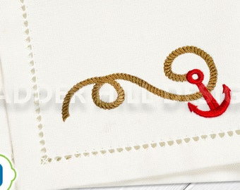 Anchor and Rope Rope Machine Embroidery Design WA023