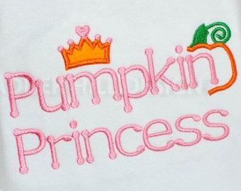 Princess Pumpkin Applique Machine Embroidery Design - Pumpkin Patch Princess - Halloween Embroidery Design- Princess Embroidery Design HA003