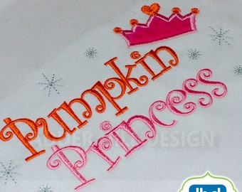 Princess Pumpkin Applique Machine Embroidery Design - Pumpkin Patch Princess - Halloween Embroidery Design- Princess Embroidery Design HA001