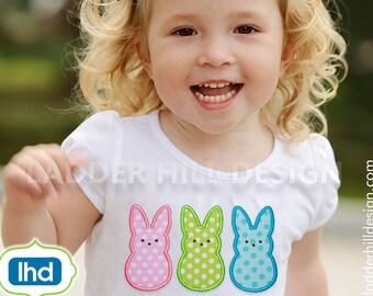 Peep Bunny Applique Embroidery -- Peeps Applique -- Easter Peeps Triple Applique Machine Embroidery Design No.  EA034 - Six Sizes