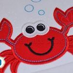 Crab Applique - Pinch Me I'm Cute Crab Applique Summer Machine Embroidery Design WA024